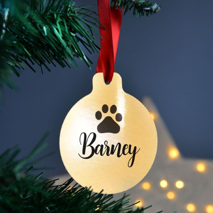 Personalised Silver Or Gold Metal Pet Christmas Bauble
